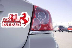 Sticker Drôle J'ai aussi une Ferrari